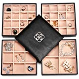 SWEETV Black Leather Jewellery Organiser Tray - 4 Layer Earrings Rings Necklaces Bracelet Jewelry Storage Box Case with Mirror