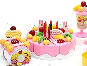 ToysCentral DIY Toy Cake Tea Party Set, 75 pcs Pretend Food Set with Fruit Cakes, Swiss Roll, Toppings, Pudding, Biscuits and Realistic Crockery, Perfect for Birthday Return Gifts