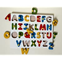 Ritu Shubhman's Creation Wooden Capital ABCD Shapes   Tray with Knobs   Learning for Kids   Wooden Board Alphabets Tray…