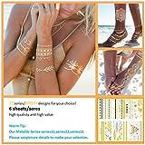 [Nouvelle Arrivée] Love Nest Flash Tatouages temporaires métalliques 6 feuilles / pack 180 + dessins Tatouages temporaires en argent étanche à l'eau pour homme, femme et enfants # 11