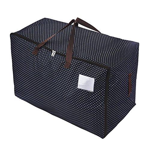 Übergroße 600D Oxford Aufbewahrungstasche Storage bag für saisonale Kleidung Tragetasche wiederverwendbare Wäschesack für sperriger Gegenstände doppelt Reißverschlusstasche mit 100L Volumen (Kleidung Aufbewahrungstasche)