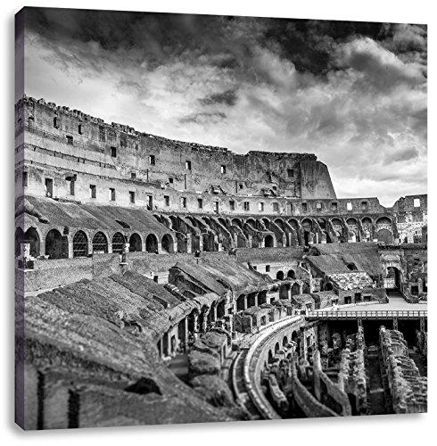 Kolosseum in Rom schwarz/weiß, Format: 60x60 auf Leinwand, XXL riesige Bilder fertig gerahmt mit Keilrahmen, Kunstdruck auf Wandbild mit Rahmen, günstiger als Gemälde oder Ölbild, kein Poster oder Plakat