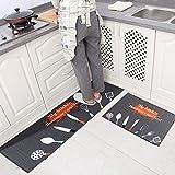Levoberg - Lote de 2 alfombras de cocina, antideslizantes, absorbentes, para colocar delante del fregadero o la lavadora,  40x60cm y 40x120cm