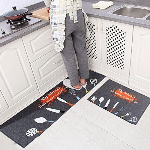 Levoberg - Lote de 2 alfombras de cocina, antideslizantes, absorbentes, para colocar delante del fregadero...