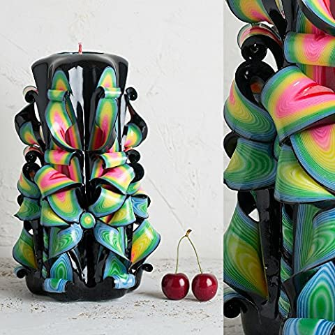 Groß, Schwarz mit hellen, lebendigen Farben - dekorativ geschnitzte Kerze - EveCandles
