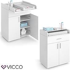 VICCO Wickeltisch LENA Wickelkommode in weiß oder Sonoma Eiche Baby Kids Wickelregal Babymöbel Kommode Wickelauflage mit Klappfunktion - für ausreichend Platz