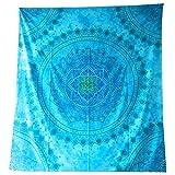 Tagesdecke Mandala Floral türkis Baumwolle indische Decke Wandbehang Überwurf