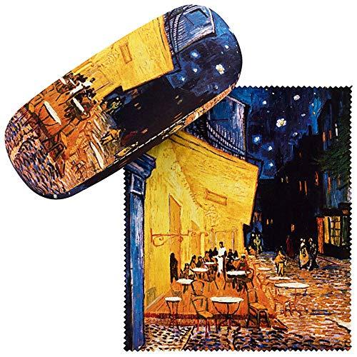 VON LILIENFELD Brillenetui Hardcase Box Kunst Stabil Damen Herren Putztuch Vincent van Gogh: Nachtcafé