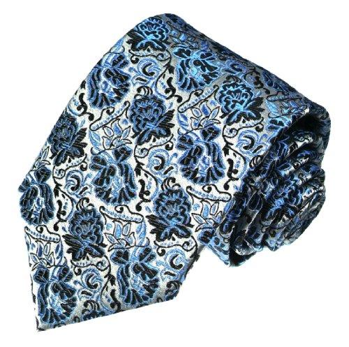 LORENZO CANA - Luxus Krawatte aus 100% Seide - Seidenkrawatte Blau Silberblau Hellblau Silber Floral - 42053 (Mantel Anzug Nadelstreifen)