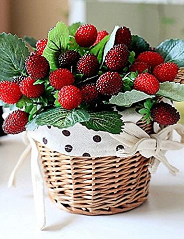Fashion bouquets,Artificial flowers, 9 Head of Wild Strawberries in Silk
