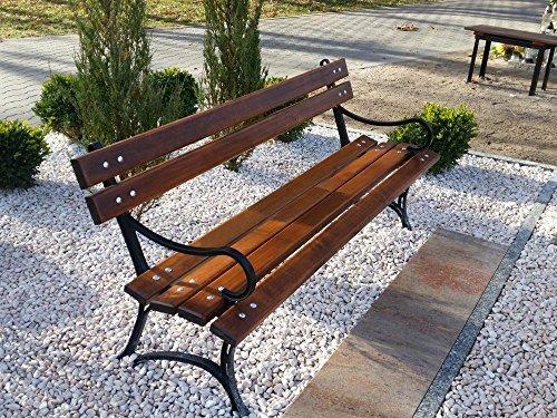 Krakwood Gartenbank, Terrassenmöbel, für Außenbereiche, Veranda, Park, Sitz, Deck aus Holz, Stahlrahmen, Metallguss
