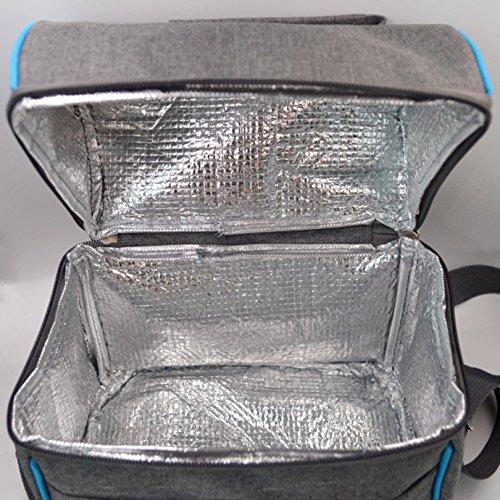 La Haute isolato termico pranzo borse grande borsa a secchiello in tessuto Oxford picnic Cooler Bags food Storage Bags Grey 3 Grey 1