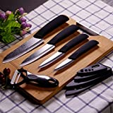Tradico KCASA KC-KF5 5 Pieces Black Blade Zirconia Ceramic Knife Set Multi-Function Chef Slicer Peeler