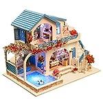 Lixada Miniature Super Mini Size Doll House Building Model Kits Wooden Furniture Toys DIY Dollhouse Blue and White Town