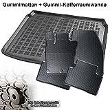 Automatten-Experts 5-teiliges Set: Auto-Gummimatten Fußmatten und Kofferraum-wanne für den 5-Sitzer Laderaum 866/4C+231855KW