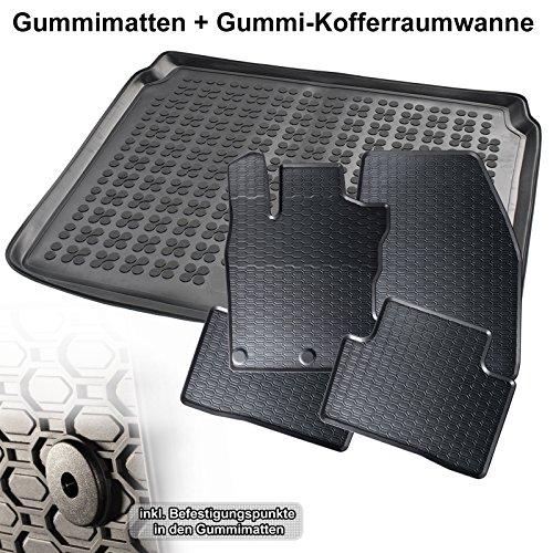 Automatten-Experts 5-teiliges Set: Auto-Gummimatten Fußmatten und Kofferraum-wanne für den Laderaum 863/4C+232227KW