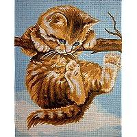 """Gobelin Stickbild Stickpackung """"Katze auf Ast"""" halber Kreuzstich 20x25cm. inkl. Sticktwist cod.429"""