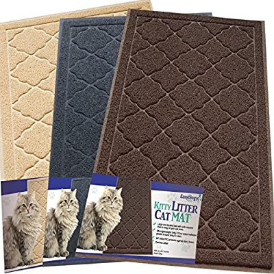 Easyology Premium Cat Litter Mat - XL Super Size - Best Extra Large Scatter Control Kitty Litter Mats for Cats Tracking Litter Out of Their Box - Soft to the Touch- Elegant for Your Home