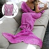 Moens Stricken Muster Meerjungfrau Schwanz Blanket, weich und warm Meerjungfrau Schwänze Schlafsack Klimaanlage Decke Schlummer Tasche Niedlich Meerjungfrau-Geschenk