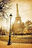 Sticker Selbstklebend oder zeigt Poster Eiffelturm Paris Schwarz & Weiß CV _ 00109, Affiche poster, 21x29,7 cm (A4)