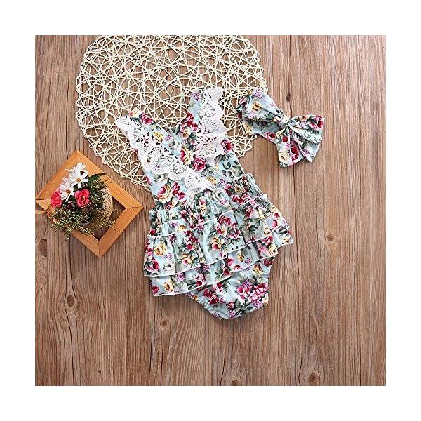 Covermason Bebé Niñas Floral Impresión Monos Linda Bodies Mameluco y Diademas (1 Conjuntos) (12-18M, Azul) 5
