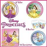 Disney Prinzessin Tischgeschirr Party-Deko 36-teilig Servietten Pappteller Plastikbecher Kindergeburtstag Partygeschirr 8 Kinder