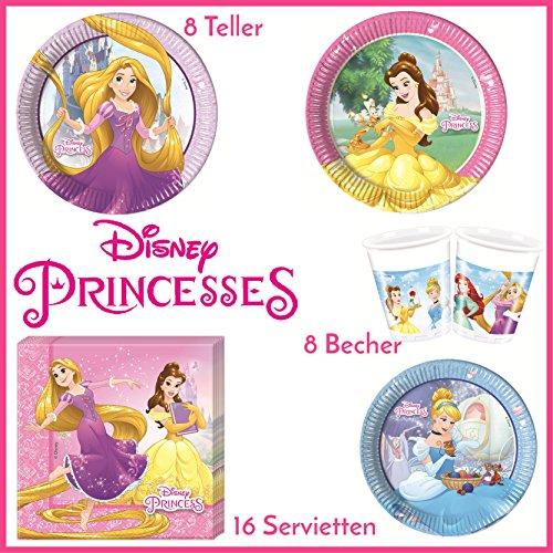 Disney Prinzessin Tischgeschirr Geschirr-Set 36-teilig Servietten Pappteller Plastikbecher Kindergeburtstag Partygeschirr 8 Kinder