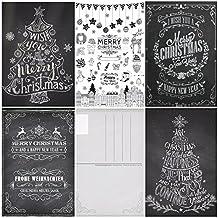 """50 Weihnachtskarten (Set 3):""""KREIDE-NOSTALGIE III"""" / 50-er Set nostalgische Weihnachtskarten (5 Motive x 10 St. = 50 St.) in schwarz-weiss im Retro/Vintage-Stil von EDITION COLIBRI (10747-51)"""