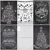 """Weihnachtskarten (Set 3): """"KREIDE-NOSTALGIE III"""" 50-er Set nostalgische Weihnachtskarten (5 Motive x 10 St. = 50 St.) in schwarz-weiss - ein Nostalgie-Weihnachtspostkarten-Set im Retro / Vintage-Stil von EDITION COLIBRI © (10747- 51)"""