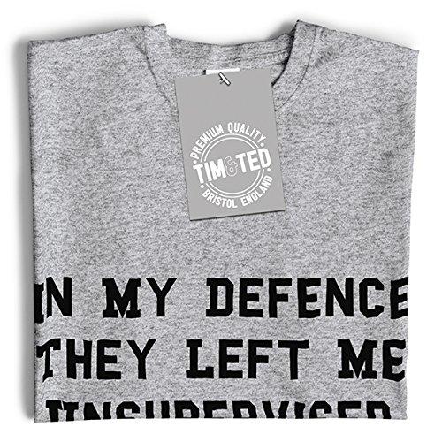 In meiner Verteidigung ließen sie mich Unüberwachte lustiger Slogan kühlen Witz Herren T-Shirt Maroon