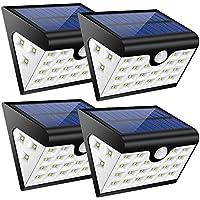 Lampade Solari 3 Modalità,300 LM Illuminazione Giardino Solare,Luce Solare 28 led con Sensore di Movimento,Illuminazione a Tre Lati,Funzione di Carica del Cavo USB,Impermeabile IP65,per Angolo,Parete, Muro, Giardino, Terrazzino, Cortile, Casa, Corraio ecc (4 pezzi)