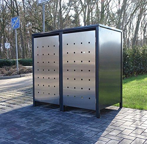 *2 Mülltonnenboxen Edeldesign No.1 für 240 Liter Mülltonnen Anthrazit – Edelstahl / witterungsbeständig durch Pulverbeschichtung / mit Klappdeckel und Fronttür aus Edelstahl*