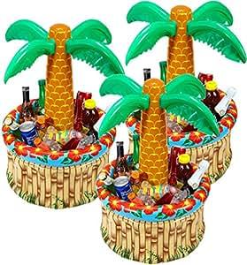 3 Stück Widmann 04865 – Aufblasbare Palmen Kühler für Getränke