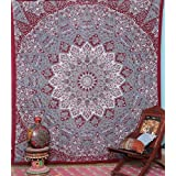 indian-hippie bohemian-psychedelic prismatic-star-mandala wall-hanging-tapestry-red-maroon queen-size-large-84X 90