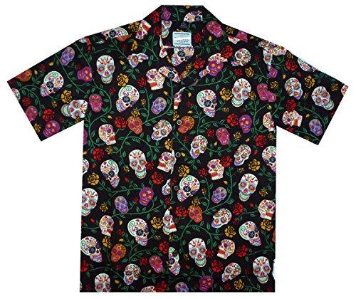 David-Carey-Original-Camisa-Hawaiana-Caballeros-XS-6XL-Manga-Corta-Bolsillo-Delantero-Estampado-Hawaiano-Da-De-Muertos-Crneo-Del-Azcar-Negro