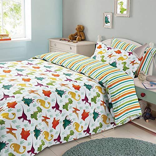 Dreamscene Kinder-Bettbezug, Kissenbezüge Bettwäsche-Set für Jungen und Mädchen, Wendebettwäsche mit Dinosaurier- oder Streifenmotiv–doppelseitig