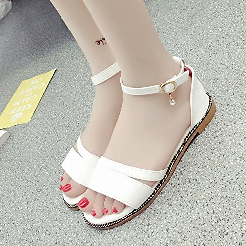 RUGAI-UE Semplice piatto fondo donne sandali estivi dita di rugiada fibbia scarpe White