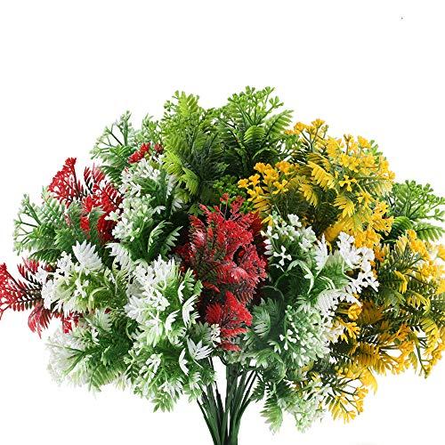NAHUAA Künstliche Blumen, für den Außenbereich, Kunstblumen, Sträucher, Bündel für den Innenbereich, für Hochzeit, Küche, Büro, Fensterbank, Dekoration, Farbmischung, 4 Stück