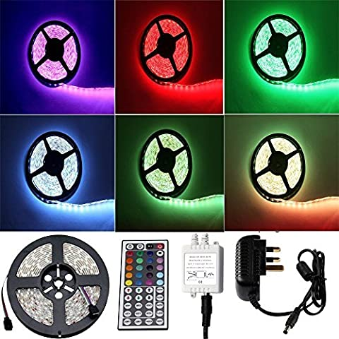 Vlio 3528 LED Strip 16.4 ft 5M 300 SMD RGB Colour Changing LED Rope Light Waterproof with 2A UK Power Supply + IR Receiver 44 Key Controller, Suitable for Home and Outdoor Light Decoration