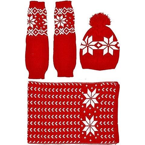 Kuyou Cappello berretto a maglia e guanti sciarpa Donna Inverno Regalo Set