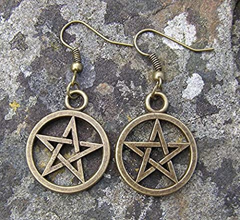 Bronze Colour Pentagram Earrings, Bronze Hooks, 2.5 cm Drop Hand