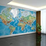 Chlwx 200cmX150cm (78.7inX55.280in) 3D Wallpaper Europäische Malerei Große Wandmalereien Tv-Kulisse Wallpaper Weltkarte Wandverkleidung