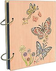 Umi. Essentials Fotoalbum aus Holz für 120 Bilder 10x15cm Einsteckalbun mit Schmetterlinge
