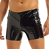 iiniim Mens Wet Look Patent Leather Side Zipper Slim Boxer Shorts Hot Short Pants