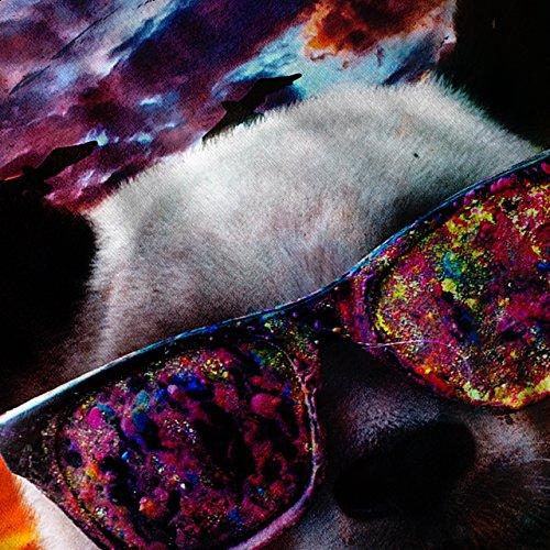 Panda Brille Himmel Tier Sonnenuntergang Traum Damen Schwarz S-2XL Muskelshirt | Wellcoda Marine