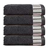 #5: Trident 550 GSM Extra Large (50 cm x 70 cm) Egyptian Cotton Pack of 4 Hand Towels Set - American Grey