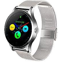 GBlife Bluetooth 4.0 Reloj Inteligente, Smartwatch con Pantalla HD IPS, Monitor de Ritmo Cardíaco/ Podómetro/ Monitor de Sueño/ Recordatorio Sedentario, Compatible con Android y IOS (Plata)