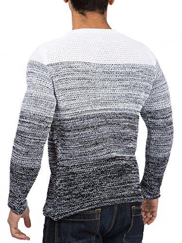 Pullover Herren Strickpullover Winter Strick Strickjacke Carisma CRSM Longsleeve Clubwear Langarm Shirt Sweatshirt Hemd Pulli Kosmo Japan Style Fit Look Weiß