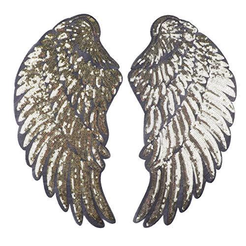 Kostüm Flügel Gold Engel - dPois Engel Flügel Aufnäher Patch Sticker Bügeln Stickerei Pailletten Applikation Engel Flügel Muster für T-Shirt Jeans Kleidung DIY Kleidung Patches Aufkleber Gold B One Size