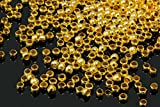 INWARIA Quetschperlen Ø 2,5/3/4 mm Quetschröhrchen 50/100/500 Perlen Metallperlen, S39 (3mm - 100 Stück, Goldfarben)
